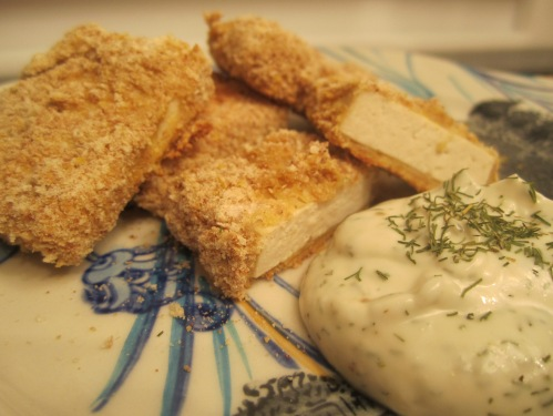 Crispy Tofu Nuggets with Creamy Dill Sauce